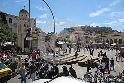 Monastiraki square in Athens, Greece with view of Parthenon / Acropolis.