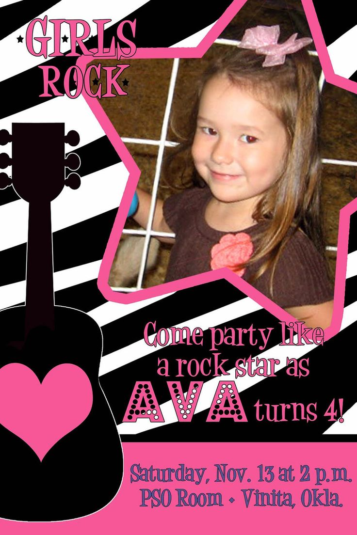 Print Your Own Rockstar Birthday Invitation by bowlover on Etsy https://www.etsy.com/listing/76347430/print-your-own-rockstar-birthday