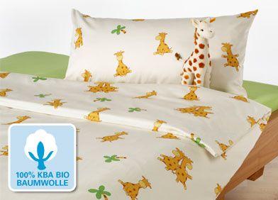 Cotonea Biber-Kinderbettwäsche Giraffe 40x60/100x135cm