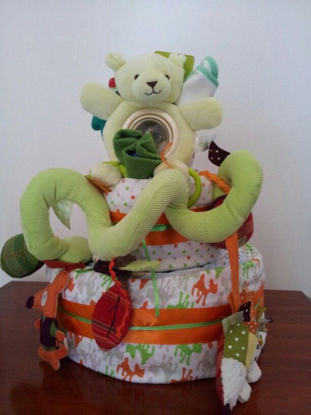 2 tier autumn themed nappycake