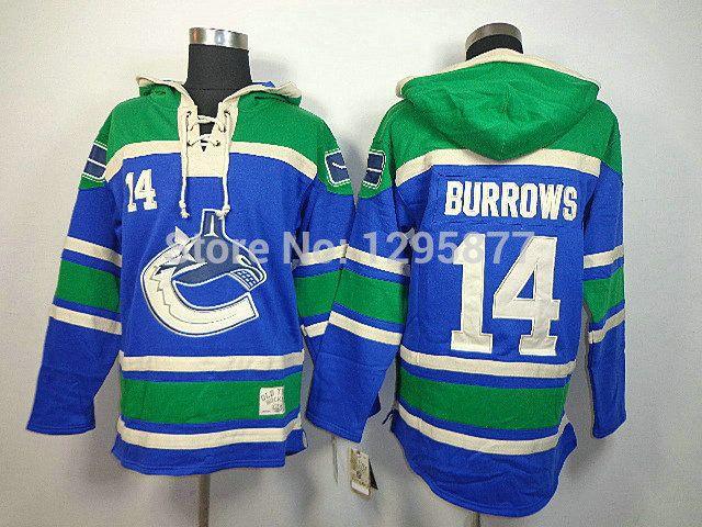 Купить онлайн хоккей кофта ванкувер кэнакс # 14 барроуз синий с капюшоном, Заказ смешивания, Сшитые логотипы