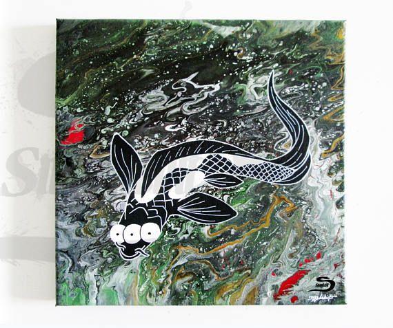 Mutant Koi Fish Painting Psychedelic Surreal Dark Art For Sale Koifish Fish Koi Painting Art Darkart Surrealart Fishar Etsy Painting Weird Artwork Art