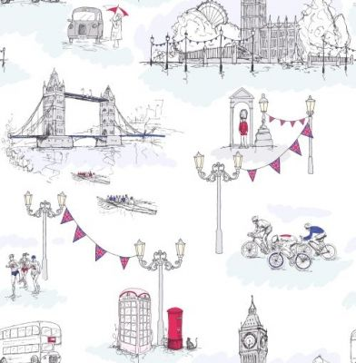 London Life (267708) - Albany Wallpapers - A fun and quirky celebration of London life and sporting activities with hand drawn fine detailing. Showing in red, blue and yellow on a white background. Exclusive to Albany. Please request a sample for true colour match.