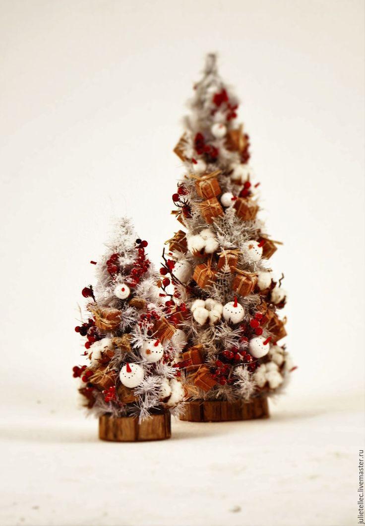 Купить Белая настольная елочка Були-Були - белый, красный, Новый Год, елка