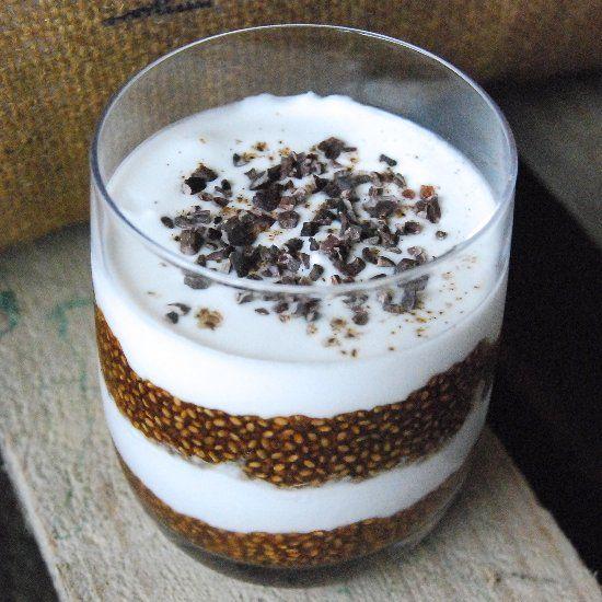 Tiramisu-inspired chia pudding. Gluten free, dairy free and cane sugar free.