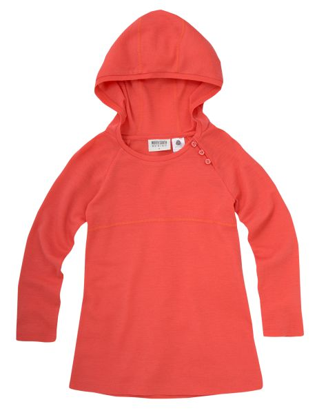 A 100% merino wool hooded tunic dress with long sleeves and buttons on the side of the neckline.