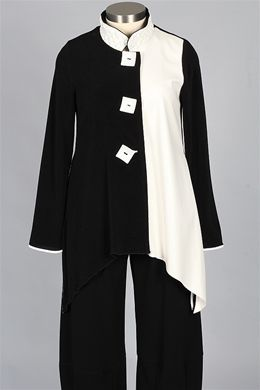 Design Today's - Quilted Collar Jacket - Black & Ivory