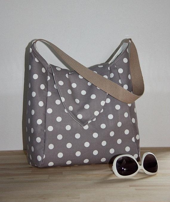 Polka Dot Tote Bag/Medium Shoulder Bag/Everyday by leyyabags, $45.00