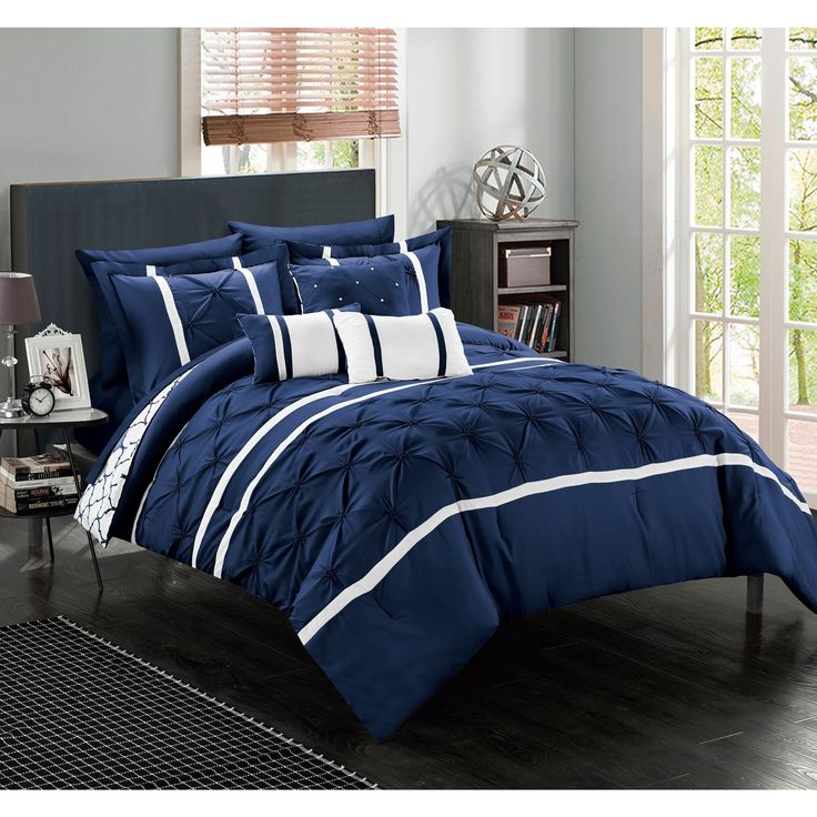 Dress Up Your Bedroom Decor With This Sophisticated 10 Piece Comforter Set.  This Reversible