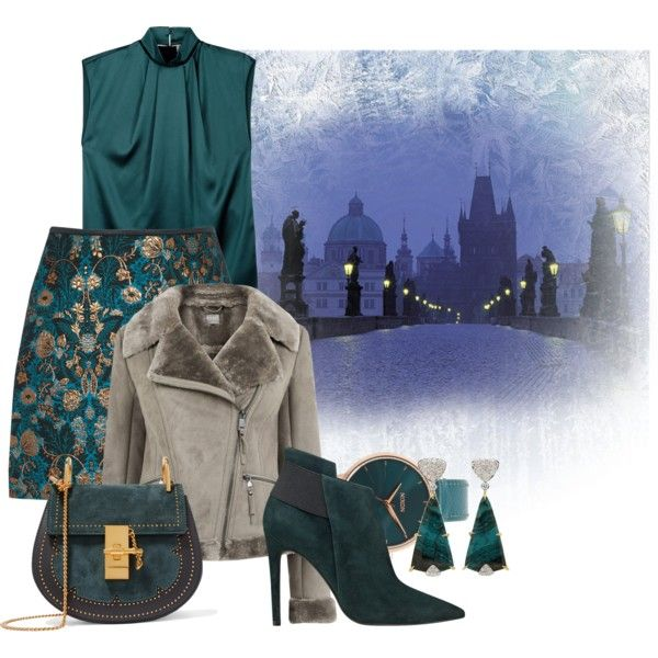 Lights in the Night by leptismagna on Polyvore featuring мода, Lanvin, GUESS, Chloé, Nixon, Valentin Magro, teal, silk and shearlingcoat
