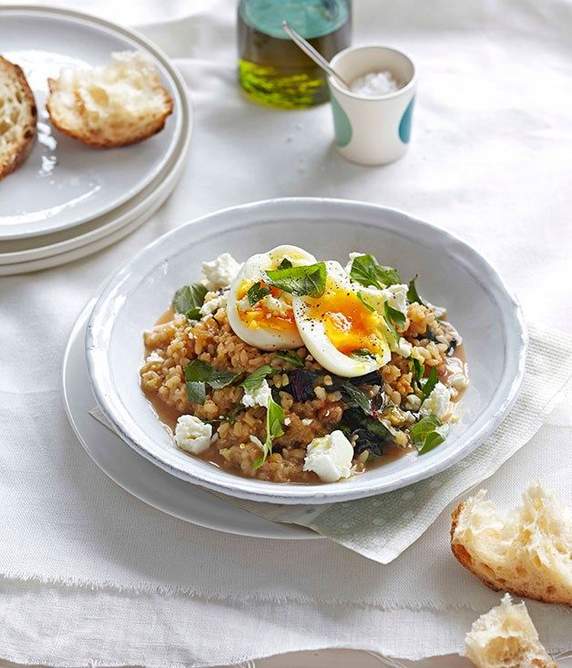 Australian Gourmet Traveller fast recipe for braised rainbow silverbeet with brown rice, feta and egg.