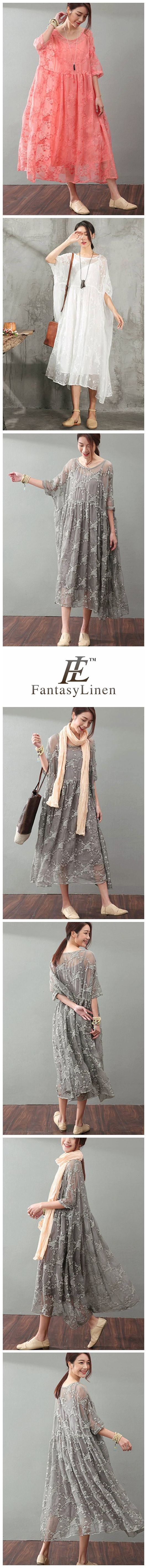 Lace Plus Size Women Dresses Maxi Clothes in Gray Q9881  Q9881Gray