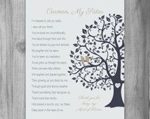 Gifts for Sister Gift Personalized Print Thank You Gift Maid of Honor ...