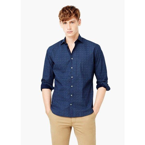 Camicia slim-fit cotone stampata - Camicie da Uomo | MANGO (€40) via Polyvore