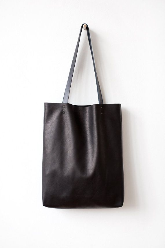 Simple Black Leather Tote bag No.Tl 6022 by CORIUMI on Etsy