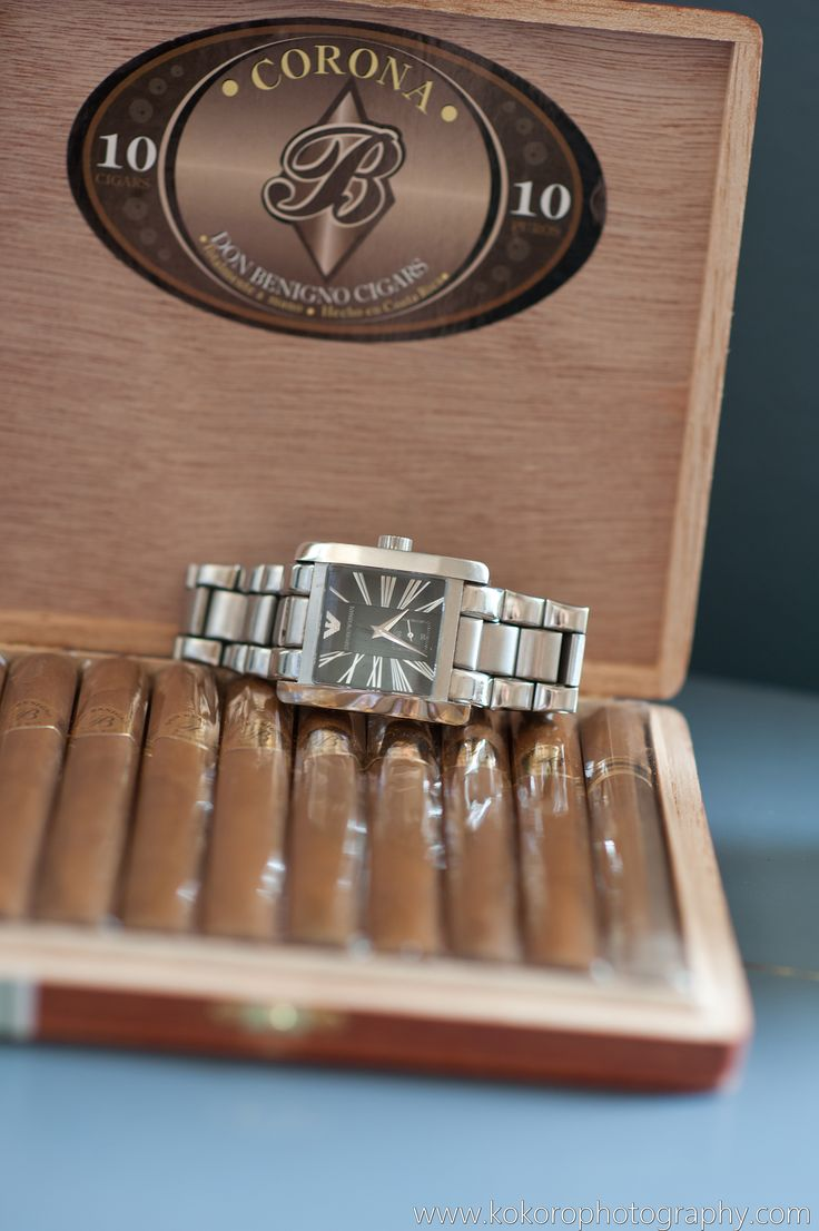 A timeless gift from the bride to her groom and cigars for the groomsmen. Wedding Planning by MuseEvents.com