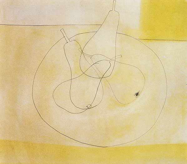 Simple but interesting. There's something very feminine about pears...  Ben Nicholson, Four Pears