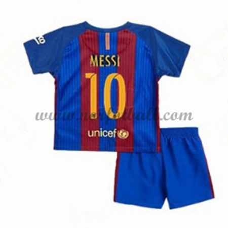 Billige Fotballdrakter Barcelona 2016-17 Messi 10 Barn Hjemme Draktsett Kortermet