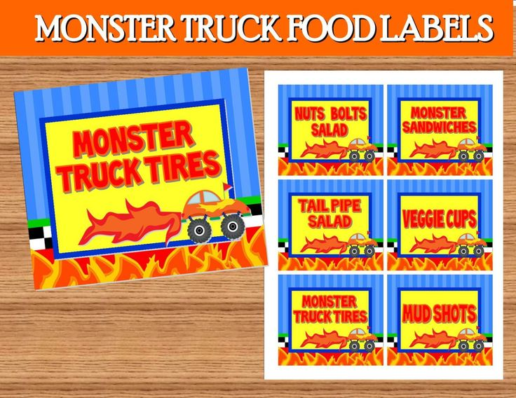 MONSTER TRUCK Party - Monster Truck FOOD LABELS- Monster Truck Birthday Party