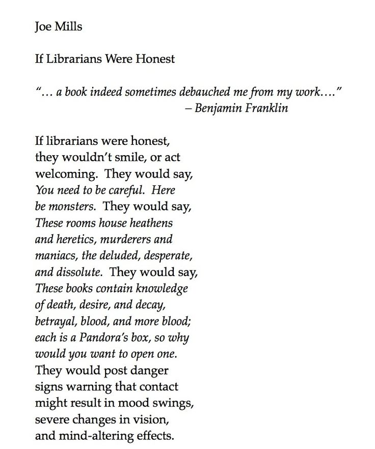 "This poem by Joseph Mills sent shivers up my spine when I read it. We're delighted to share ""If Librarians Were Honest"" with you today."