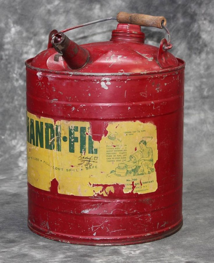 Vintage 1950 S Red 2 Gallon Handifil Metal Gas Can Wooden
