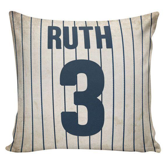 Personalized Baseball Pillow Cover - 100% cotton front, cotton or burlap back Vintage Sports Theme Man Cave  Boys Room Decor Stub24 #S20063