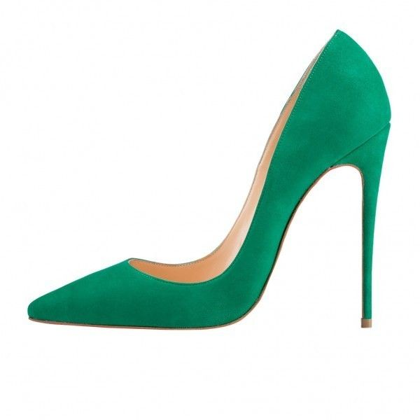 Green Pumps (€53) ❤ liked on Polyvore featuring shoes, pumps, green shoes, green pumps and party shoes