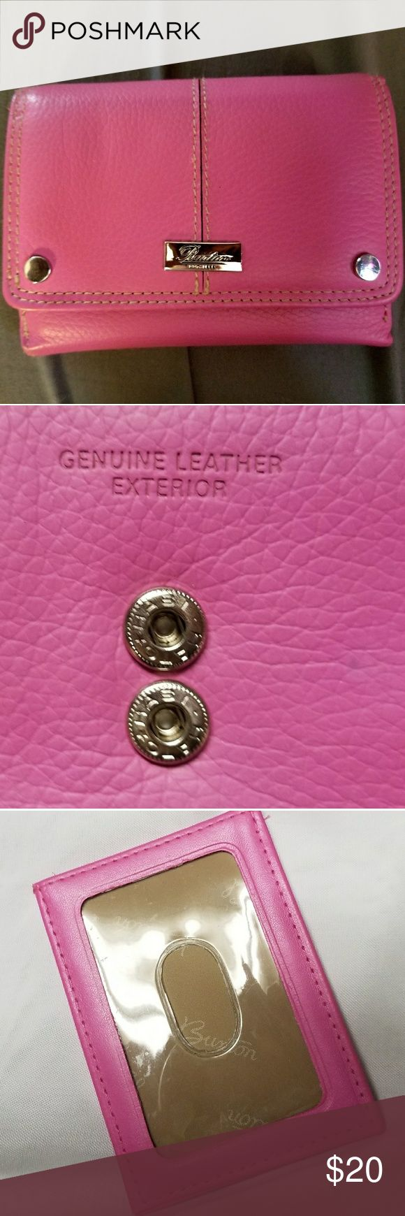 Genuine Leather Buxton Wallet Buxton dark pink genuine leather wallet. Be stylish & functional with this beautiful, timeless wallet. Two coin purses. Removable ID holder w/ 3 card slots. 21 card holders. Buxton Bags Wallets