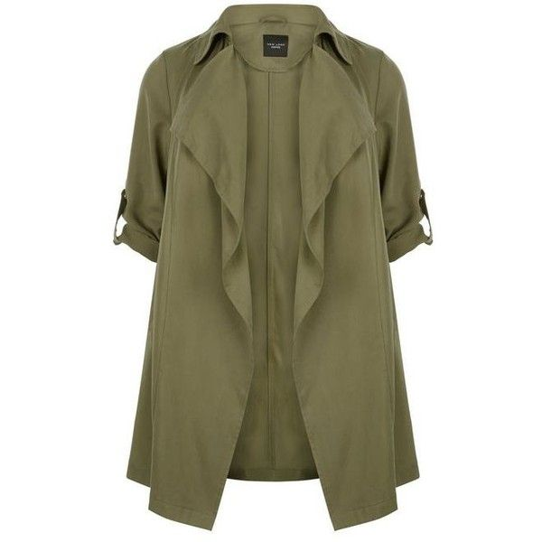 Plus Size Khaki Waterfall Trench Coat ($56) ❤ liked on Polyvore featuring outerwear, coats, long sleeve coat, waterfall coat, khaki coat, plus size coats and brown coat
