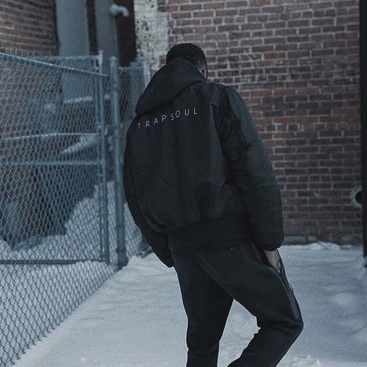 Bryson Tiller spotted on Instagram wearing a custom black MA-1 Flight Jacket.
