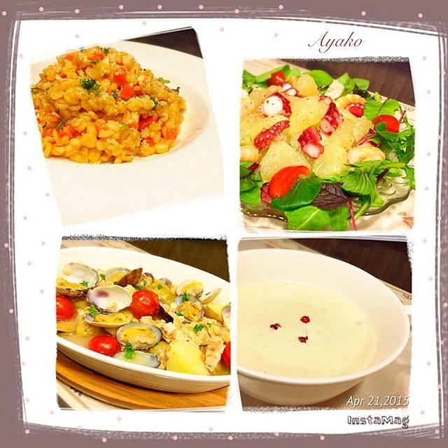 今日は、大好きなイタリア〜ン♡ たまには、肉なしのメニューもいいね♪ - 72件のもぐもぐ - 押し麦のトマトリゾット、シーフードとグレープフルーツのサラダ、さけ中骨缶で簡単アクアパッツァ、蕪のポタージュ by ayako1015
