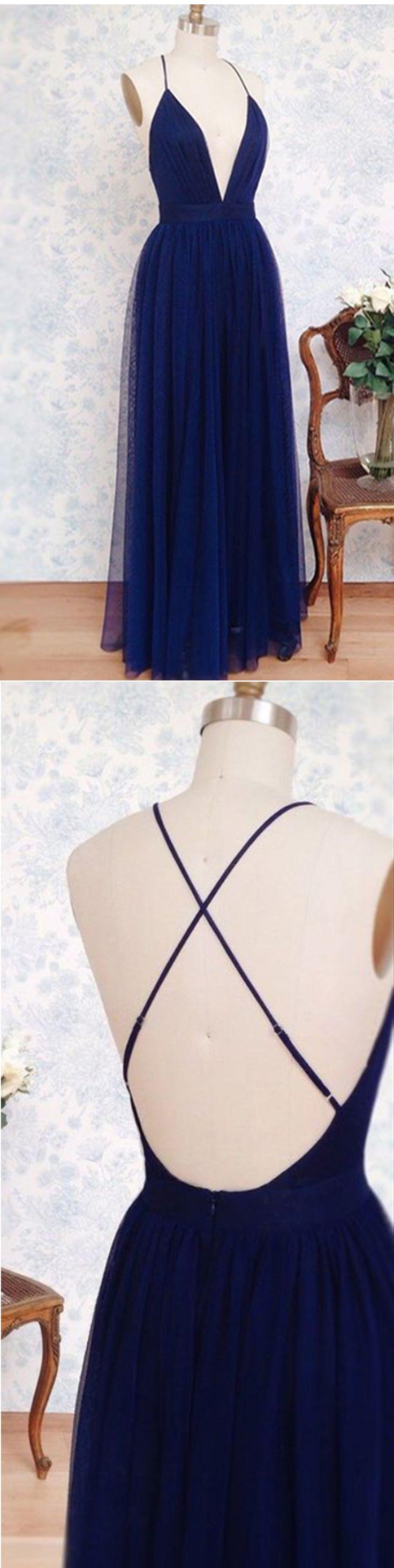 Simple navy blue tulle deep V neck backless long evening dresses
