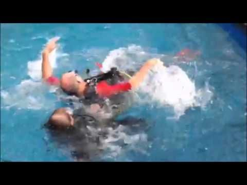 "Padi Rescue Diver Course. Rescue Diver pool sessions are taken very seriously here at Alpha Dive Centre. Check out the simulated rescue of a ""panicked diver"" as demonstrated by the Brits family"