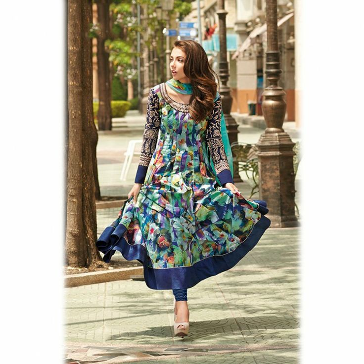 Blue digital print Salwar Kameez Suit