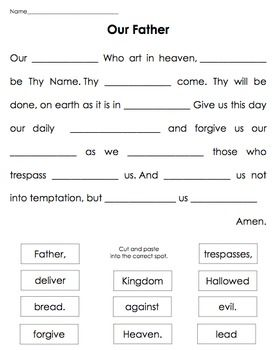 Our Father - cut & paste.Simple cut and paste to learn key words in the prayer Our Father.