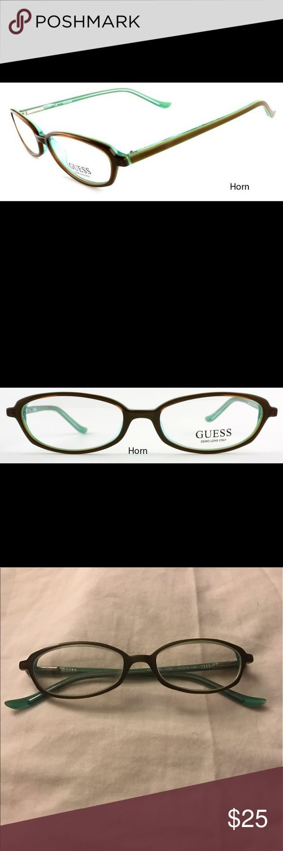 Guess prescription glasses frames👓 Excellent used Guess prescription eyeglass frames. They are horn colored brown with green inside. They are adorable on! The prescription in it will just need to be changed to yours. ☺️ I have a case they are being stored in listed as well, I am willing to bundle these two items! Guess Accessories Glasses