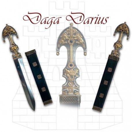 Daga Darius Alexandre le Grand film avec certificat d'authenticité. lame en acier inoxydable et poignée en zamak avec des…