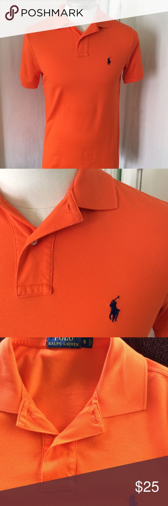 Men's Polo Ralph Lauren Shirt Sleeve  Polo Orange, 100% Cotton (mercerized), short sleeve polo shirt.  Classic Fit.  It is slightly different from the regular Mesh cotton polo shirt.  It is mercerized cotton, so a little dressier look and touch. Polo by Ralph Lauren Shirts Polos