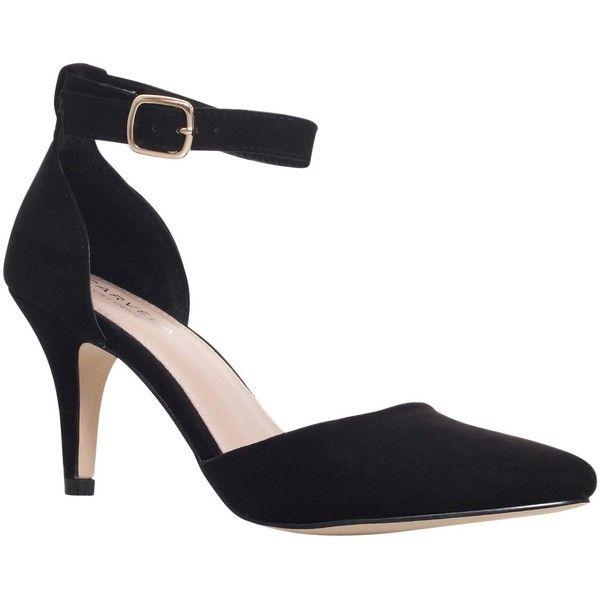 Carvela Kandice Suedette Court Shoes , Black (3,435 PHP) ❤ liked on Polyvore featuring shoes, pumps, black, pointed toe pumps, black high heel pumps, black suede shoes, high heel shoes and black ankle strap pumps