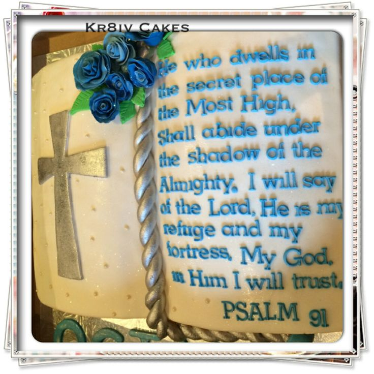 Carrot cake open book with handmade edible bookmark, cross, individual cutout lettering  & roses.