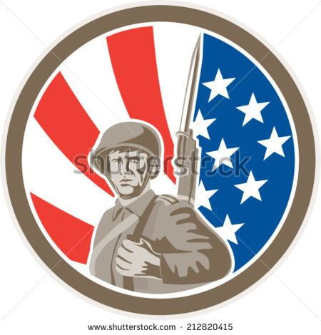 Illustration of an american world war two soldier serviceman military with bayonet set inside circle on stars and stripes background done in retro style.   #soldier #veteran #retro #illustration