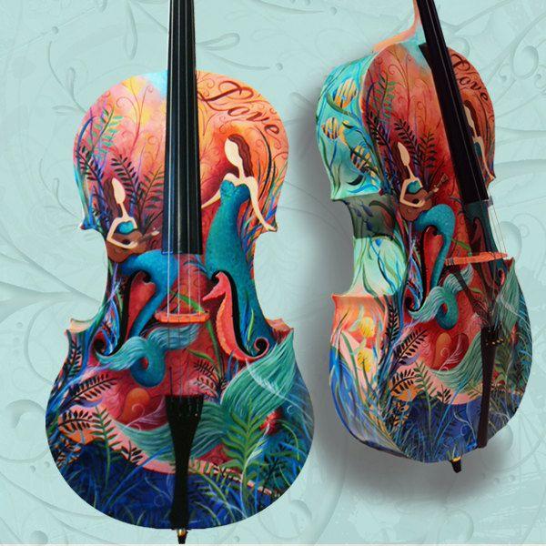 Beautiful Custom Painted Cello Full Size Instruments Violins Guitars.  via Etsy.