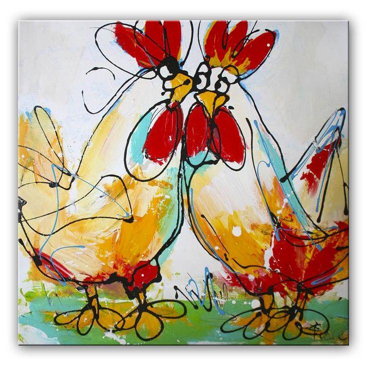 Schilderij Verliefde Kippetjes  Deze kippen zijn verliefd, het straalt ervan af! Het kleurrijke schilderij is door onze kunstenaars oa met paletmes geschilderd. Hierdoor is de verf dik opgezet en krijgen het schilderij meer karakter. De lijnen zijn trefzeker neergezet, de kleuren zijn vrolijk, maar ogen rustig. Als je je interieur een kleurrijke boost wil geven, dan kan dat uitstekend met dit schilderij.