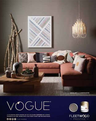 A stunning living room featuring 'Hepburn Deep' from our new Vogue collection. Dark colours can feel very warm when used with the right furniture and accessories.