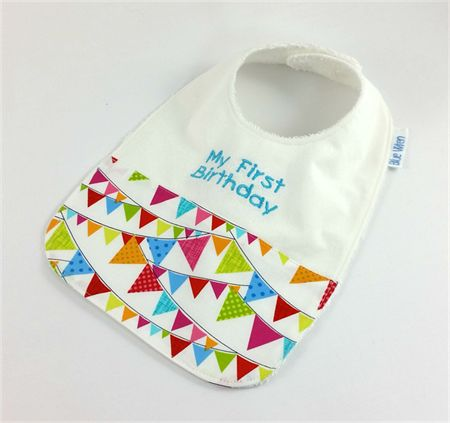 Baby/Infant Bib - My First Birthday, Cute Cotton Flag Fabric, Snap Fastened.