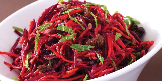 Revive raw salad with beetroot and sultanas from The Revive Café Cookbook 2 by Jeremy Dixon. Photo / Supplied