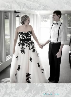 Beautiful black and white plus size wedding dresses