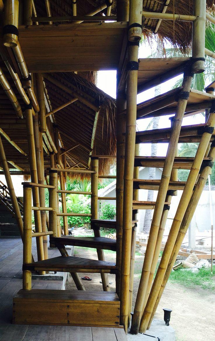 Bamboo spiral staircase on the Bamboo Lodge at Captain Coconuts Gili Air