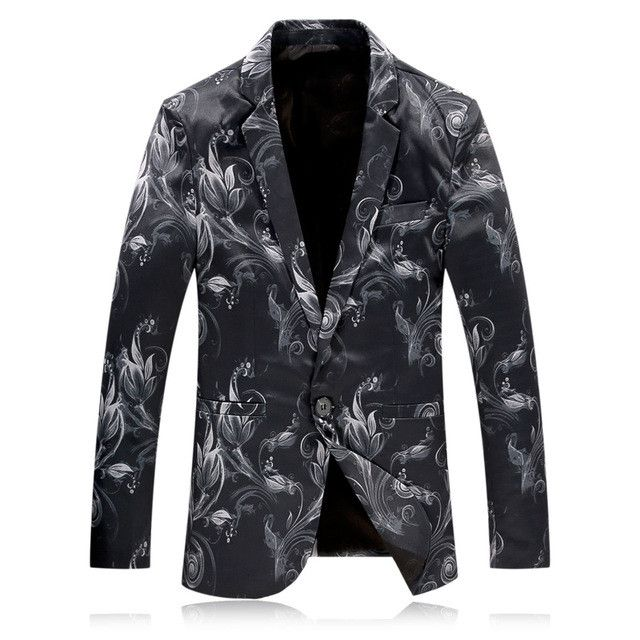 Fire Kirin Mens Floral Blazer 2017 Brand Flower Print Blazer Prom Blazers Stage Costumes For Singers Casual Suit Jacket Q9