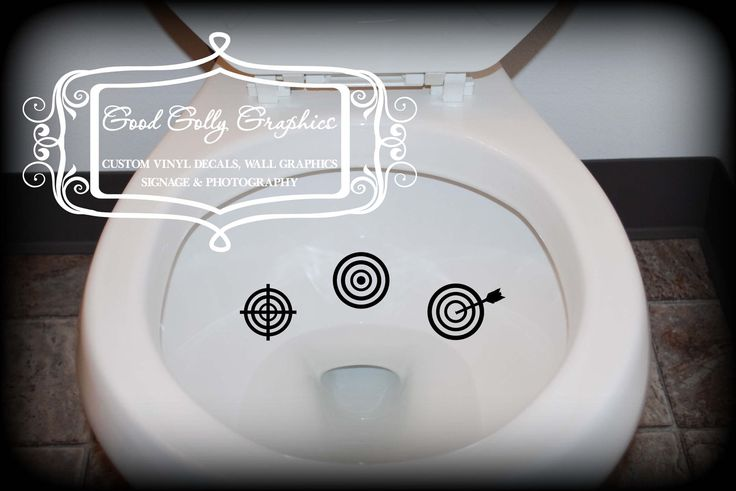Potty training sticker, toilet decal, Taking Aim toilet targets: THREE piece collection, scope target, bulls eye and target with arrow. $5.00, via Etsy.